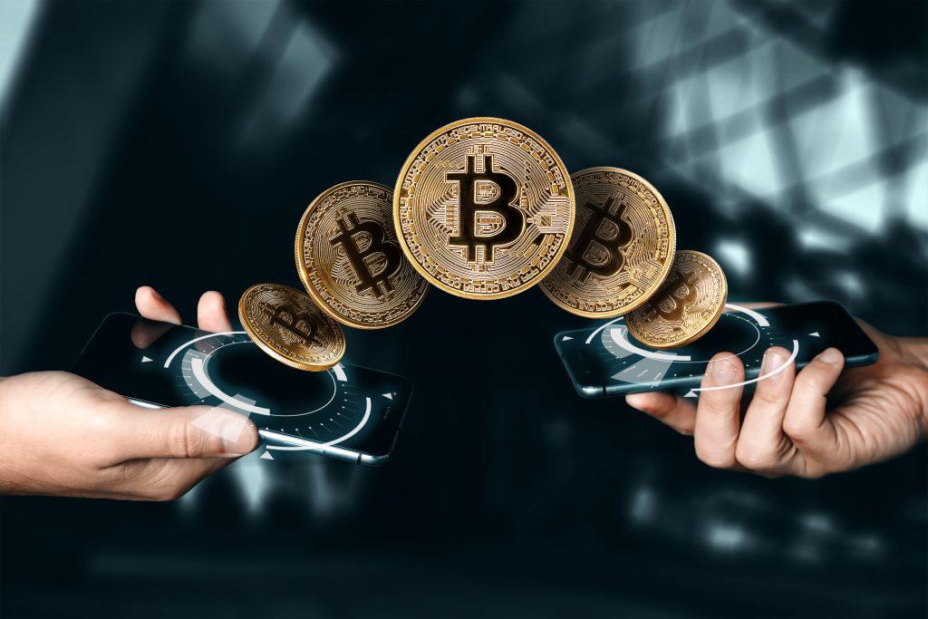 gold coin bitcoin currency blockchain technology